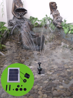 Solar Fountain Pump with LED Light & Timer
