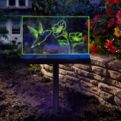 Solar Hummingbird Garden Sign